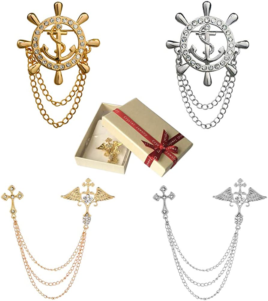 Huture 4PCS Vintage Lapel Pin Retro Brooch British Style Navy Roulette Tuxedo Shirts Scarf Unisex Accessories Birthday Anniversary Gift, Rhinestone Anchor/Wing Pair Cross Hanging Chain, Silver/Gold