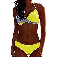 CheChury Bikinis Mujer 2021 Push Up Halter Bikini Traje de baño Acolchado Bra Tops y Braguitas Bikini Sets Talla Grande…