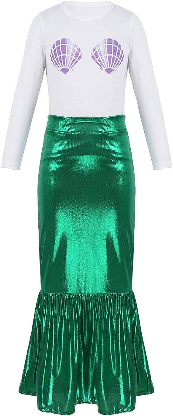 Agoky Disfraz de Sirena para Niña Cosplay Traje de Princesa 2Pcs ...