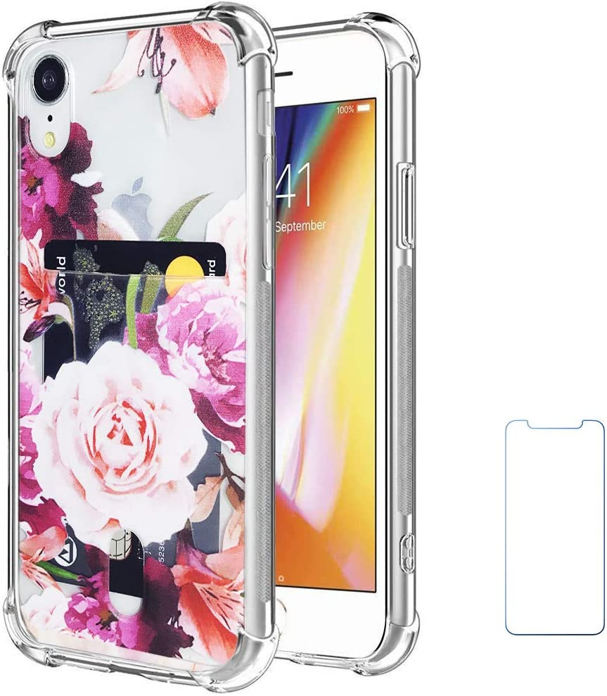 """Oddss Case Compatible for iPhone XR with Card Holder Slot Pink Rose Floral Design Ultra-Slim Thin Soft TPU Clear Cover Compatible for iPhone XR (6.1"""") with Screen Protector"""