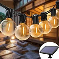 Solar Lights String Outdoor Waterproof LED Indoor Hanging Umbrella Lights with 25 Bulbs - 27 Ft Patio Lights for…