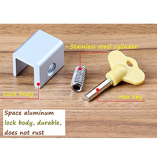 Window Locks-Sliding Window-Sliding Window Lock-Window Stop-Adjustable Sliding Window Locks Stop Door Frame Security Locks with Keys【8 Pieces】 by LFM (Image #3)