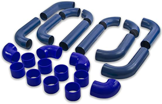 "3/"" DIY 8 Piece Aluminum U Pipe Turbo FMIC Intercooler Piping Kit Black//Blue"