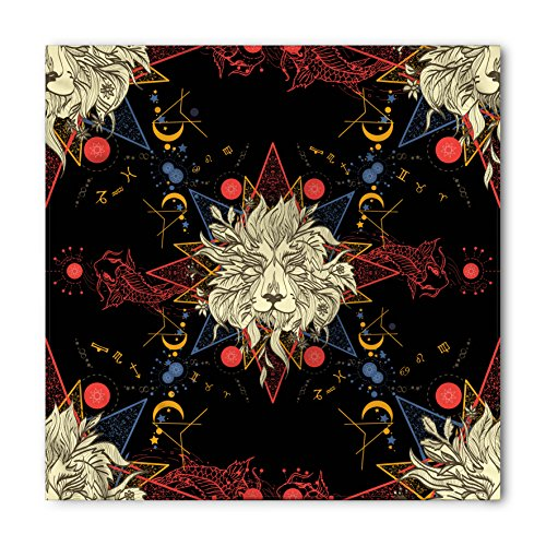 Ambesonne Astrology Bandana, Medieval Mystical Lion Portraits Astrological Symbols of Zodiac Antique Style, Printed Unisex Bandana Head and Neck Tie Scarf Headband, 22 X 22 Inches, Multicolor ()