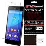 [Pack of 3] TECHGEAR Sony Xperia M4 Aqua CLEAR LCD Screen Protector Guard Covers With Screen Cleaning Cloth & Application Card (M4 Aqua & M4 Aqua Dual Sim)