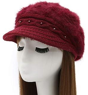 3fa31e6b965dd Epsion Women Winter Knit Crochet Newsboy Caps Lady Warm Pearl Knit Beanie  Hat