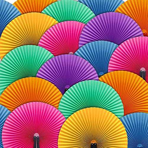 Johouse 12PCS Paper Fans Round Shaped Handheld Folding Accordion Fans with Plastic Handle for Wedding -