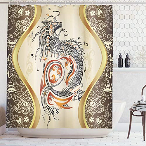 (Asian Decor Dragon Doodle Sketch Tattoo Icon Flames Tribal Grunge Illustration Art Bath Accessories Design Decoration Lover Wonder Wildlife Animal Shower Curtain Washable Gold Khaki Orange Beige Black)