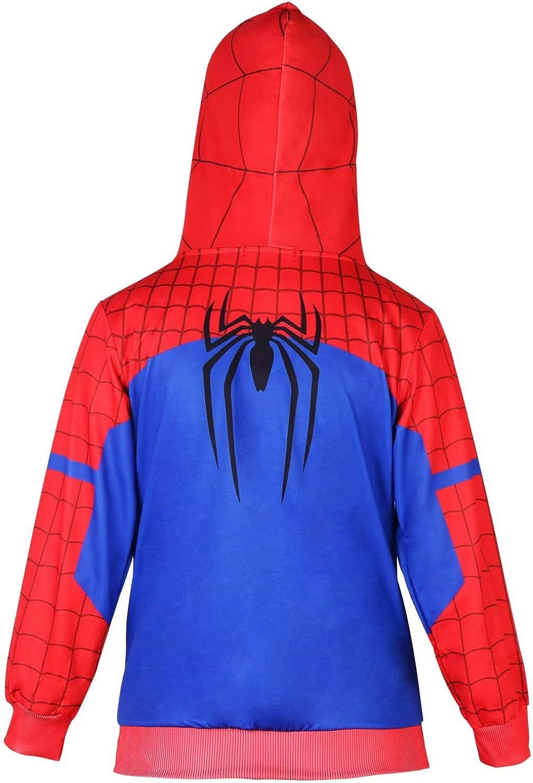 Spiderman Sudadera con Capucha Cosplay Disfraz Cremallera Suéter ...