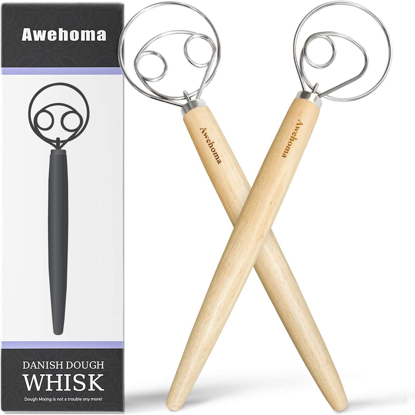 """Awehoma Danish Dough Whisk Large Hand Mixer - 2 Pack Large 13"""" Stainless Steel & Wooden Danish Whisk - Dutch Style Artisan Blender for Bread, Batter, Cake, Pastry, and More -Gift for Bakers"""