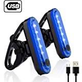 Volcano Eye Blue Rear Bike Tail Light 2 Pack, Ultra Bright USB Rechargeable Bicycle Taillights, High Intensity Led Accessories Fits On Any Road Bikes,Helmets. Cycling Led Safety Lights (Blue-2 pieces)