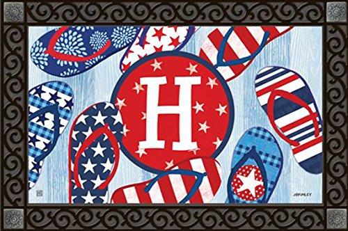 Freedom-Flip-Flops-Monogram-H-Doormat-IndoorOutdoor-Patriotic-Letter-H-MatMates