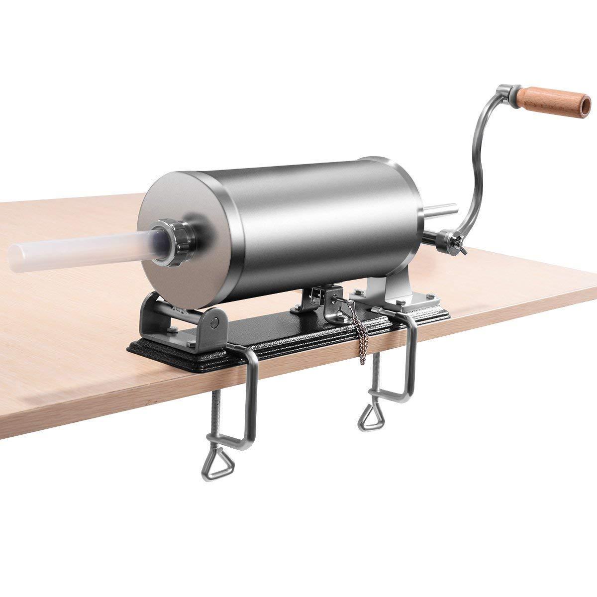 COSTWAY 3,6L macchina per la produzione di salsicce in acciaio inossidabile, insaccatrice manuale, in acciaio inossidabile, salsicce siringa con 4 tubi di riempimento