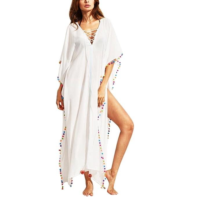 Jolisson Robe Dress Jupe Longue Manche Court Femme Fille T-Shirt Tunique  Bohème Maxi Uni ab59683d7282