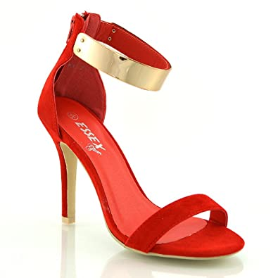 53dff7ac5 ESSEX GLAM Womens Stiletto High Heel Ankle Cuff Strappy Red Faux Suede Peep  Toe Sandals 9