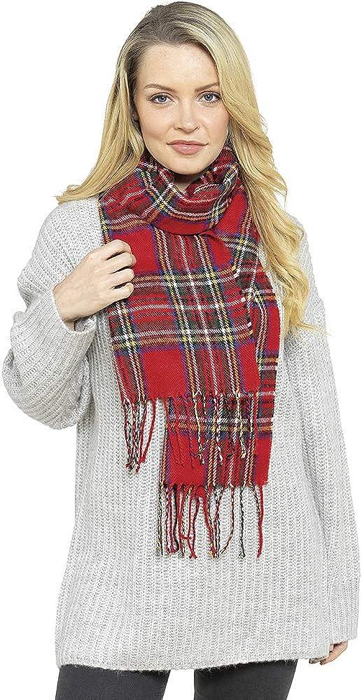 color rojo y azul SiXsigma Sports Bufanda de cuadros escoceses para mujer 100/% acr/ílico