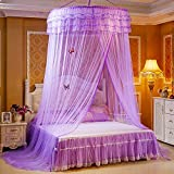 RuiHome Elegant Round Lace Canopy Hanging Mosquito Net for Girls Bed Twin Full Queen Home Decor (Purple)