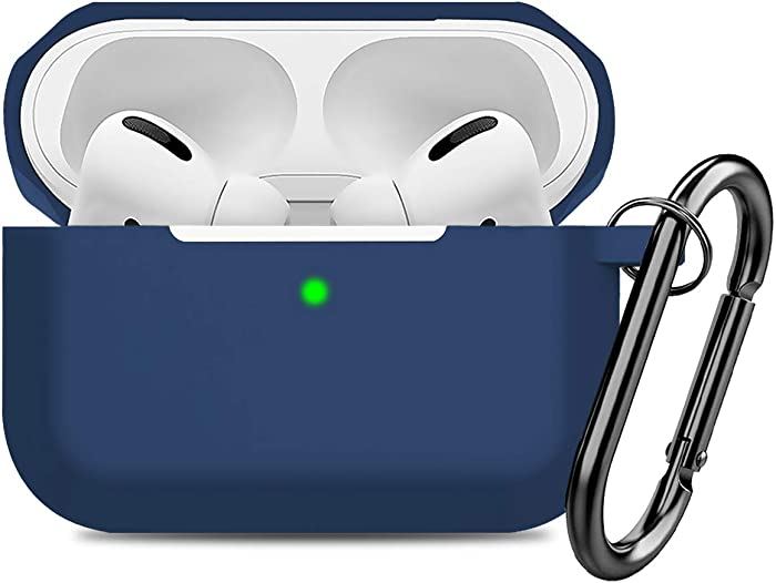 Compatible AirPods Pro Case Cover Silicone Protective Case Skin for Apple Airpod Pro 2019 (Front LED Visible) Navy Blue