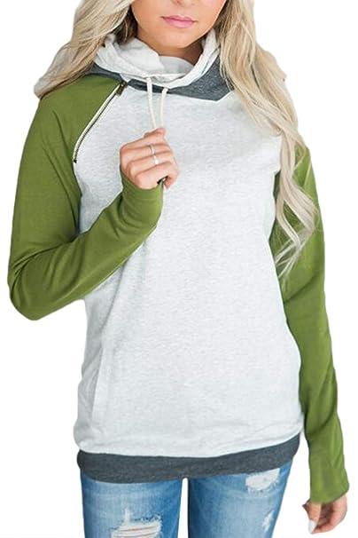 Las Mujeres Sweashirts Casual Manga Larga con Capucha Sudaderas Cuello Alto De Estirpes De Color Verde 2color M: Amazon.es: Ropa y accesorios