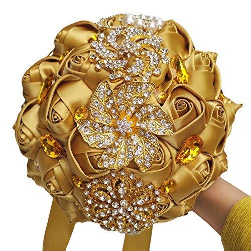 FYSTORE Bride Bridesmaids Bouquet Crystal Rhinestone Brooch Wedding Bouquets Brides Bridesmaids Hand Holding Flower 18cm/ 7 inch Gold]()