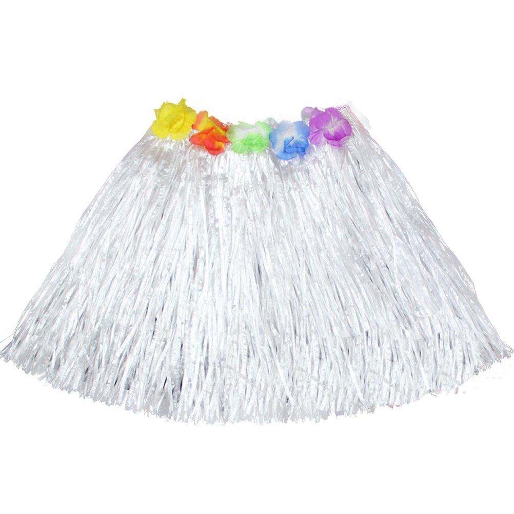Luau Beach Party Halloween Costume Party Hawaiian Dance Hula Skirt Grass Skirt, White(pack of 3)