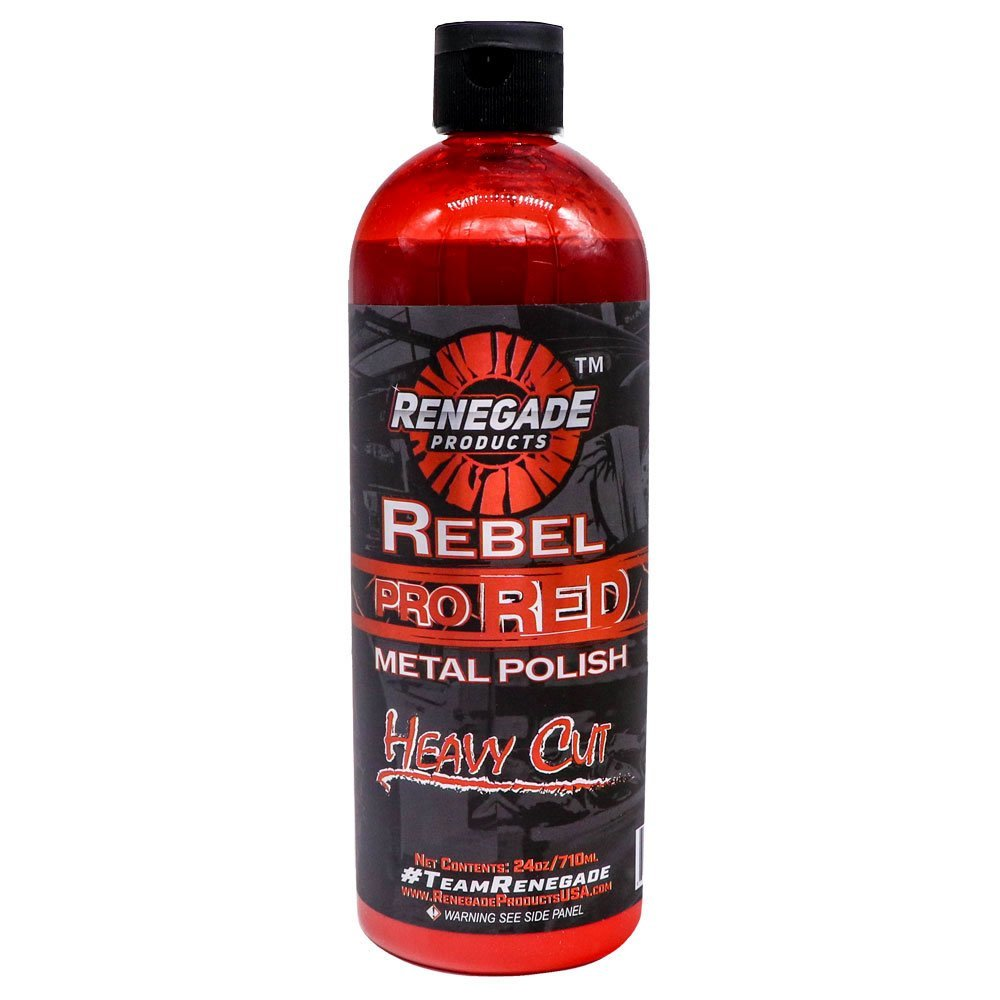 Renegade Products USA Rebel Pro Red Liquid Metal Polish by Heavy Cut Aluminum Polish for High Luster on Rims, Wheels, Tanks, Bumpers etc. 24 Oz Bottle
