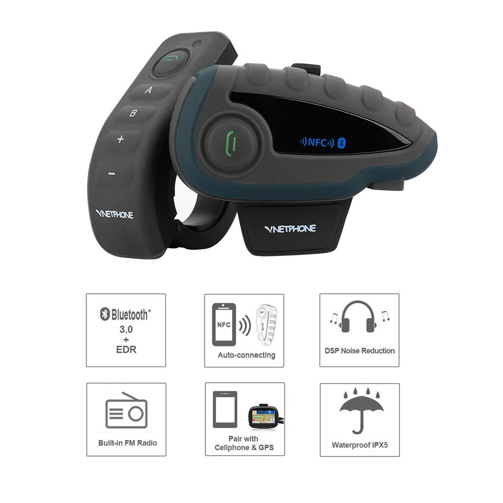 MotorFansClub V8 1200M BT Bluetooth Motorcycle Intercom Helmet Interphone Remote Control by MOTORFANSCLUB