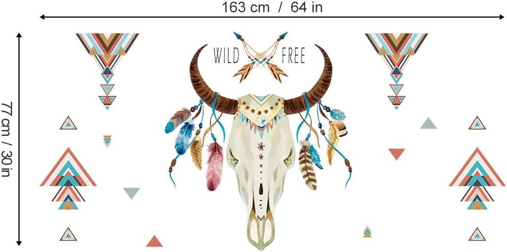 ufengke Pegatinas de Pared Cuerno de Toro Wild Free Letras Vinilos Adhesivas Pared Pluma Tri/ángulo Decorativos para Dormitorio Sala de Estar Oficina