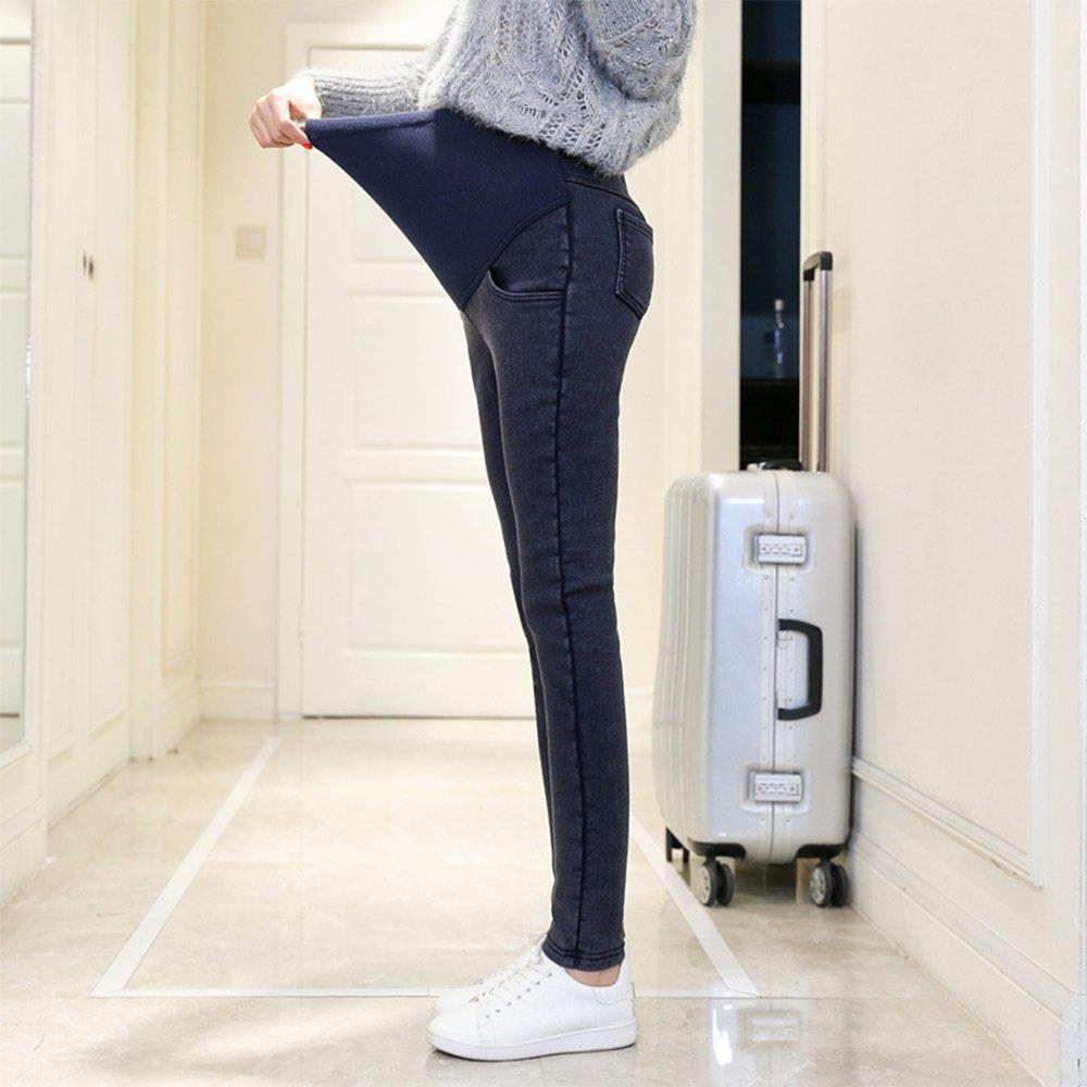 KINDOYO Autumn High-Waist Stretch Gold Velvet Warm Jeans Pregnant Women Leggings