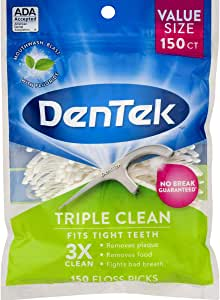 DenTek Triple Clean Floss Picks | No Break Guarantee | 150 Count