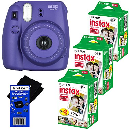 Fujifilm Instax Mini 8 Instant Film Camera (Grape) + Fujifilm Instax Mini Instant Film (60 sheets) + HeroFiber Ultra Gentle Cleaning Cloth (Fujifilm Instax Mini8 Grape compare prices)