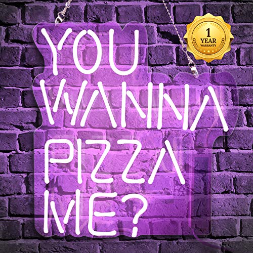 Neon Signs, Neon Light Sign Led Neon Lamp, Wall Sign Art Decorative Signs Lights, Neon Words for Home Bedroom Room Decor Bar Beer for Party Holiday Wedding Decor Sign (You Wanna Pizza ME? Purple) (Led Sign Pizza)