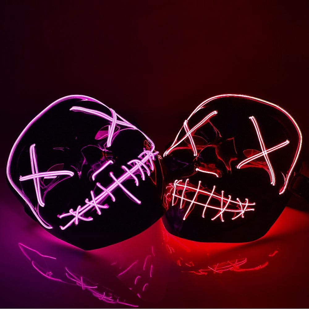 TEEPAO Halloween Scary LED Mask Smiling Stitched EL Wire Light Up Mask for Festival Party Halloween Costume Rave Cosplay