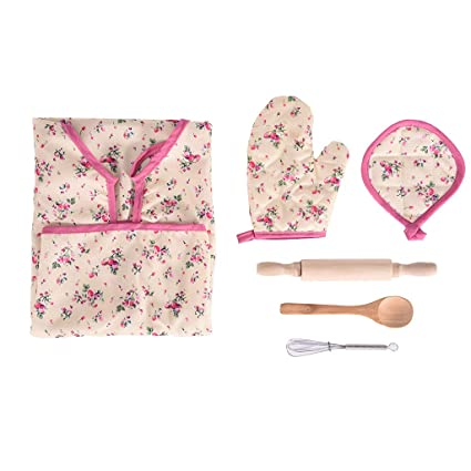 Buyone 6Pcs Kids Cooking and Baking Set Kitchen Costume Pretend Role Play Kit Apron High-Quality Kids Dress-up Costume Design Gifts for Kids and Children Cooking kit