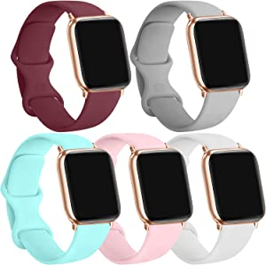 [5 Pack] Silicone Bands Compatible for Apple Watch Bands 38mm 40mm, Sport Band Compatible for iWatch Series 6 5 4 3 SE, Wine red/Gray/Light Blue/Pink/White, 38mm/40mm-S/M
