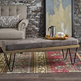Elaina Bench | Perfect for Dining Table or Entry Way | Danish, Minimal, Mid Century Modern Design | Hairpin Leg | Fabric in Greyish Brown For Sale