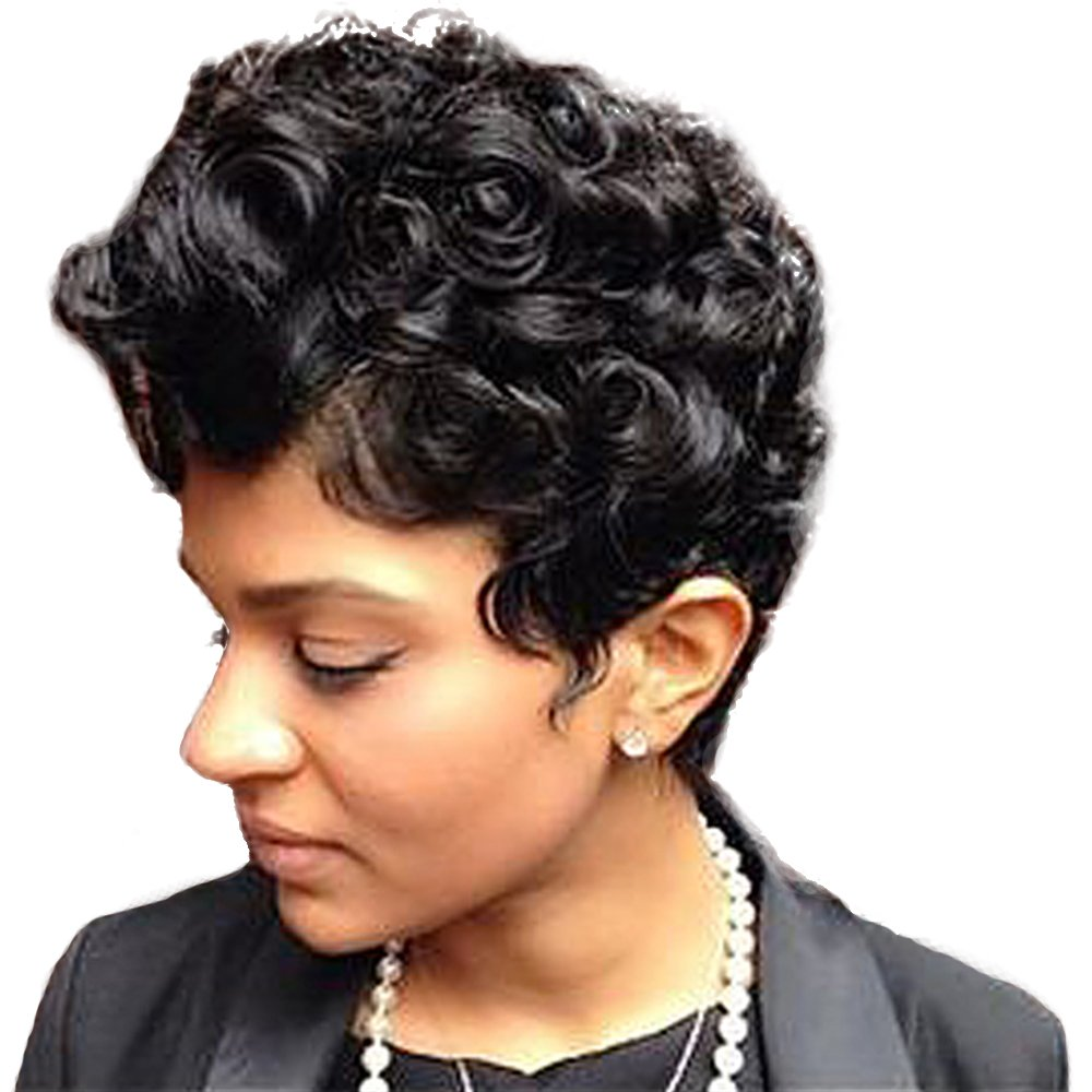Women Short Curly Brazilian Virgin Human Hair (Natural Spiral Curls, Black) - Human Hair Wigs -Short with Capless Wig for Daily& Wedding Wear 8 Inches by mufly (Image #2)