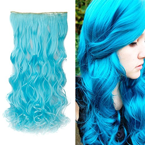 """S-noilite Colorful 24""""/26"""" 3/4 Full Head Clip in Hair Extension Straight Curly One Piece 5 Clips All Colors Synthetic Hairpiece Beautiful Dressing (24""""-curly, Sky Blue)"""