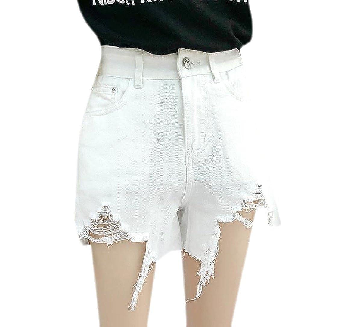 Coolred-Women Slim Fit Highwaist Irregular Distressed Jeans Denim Shorts