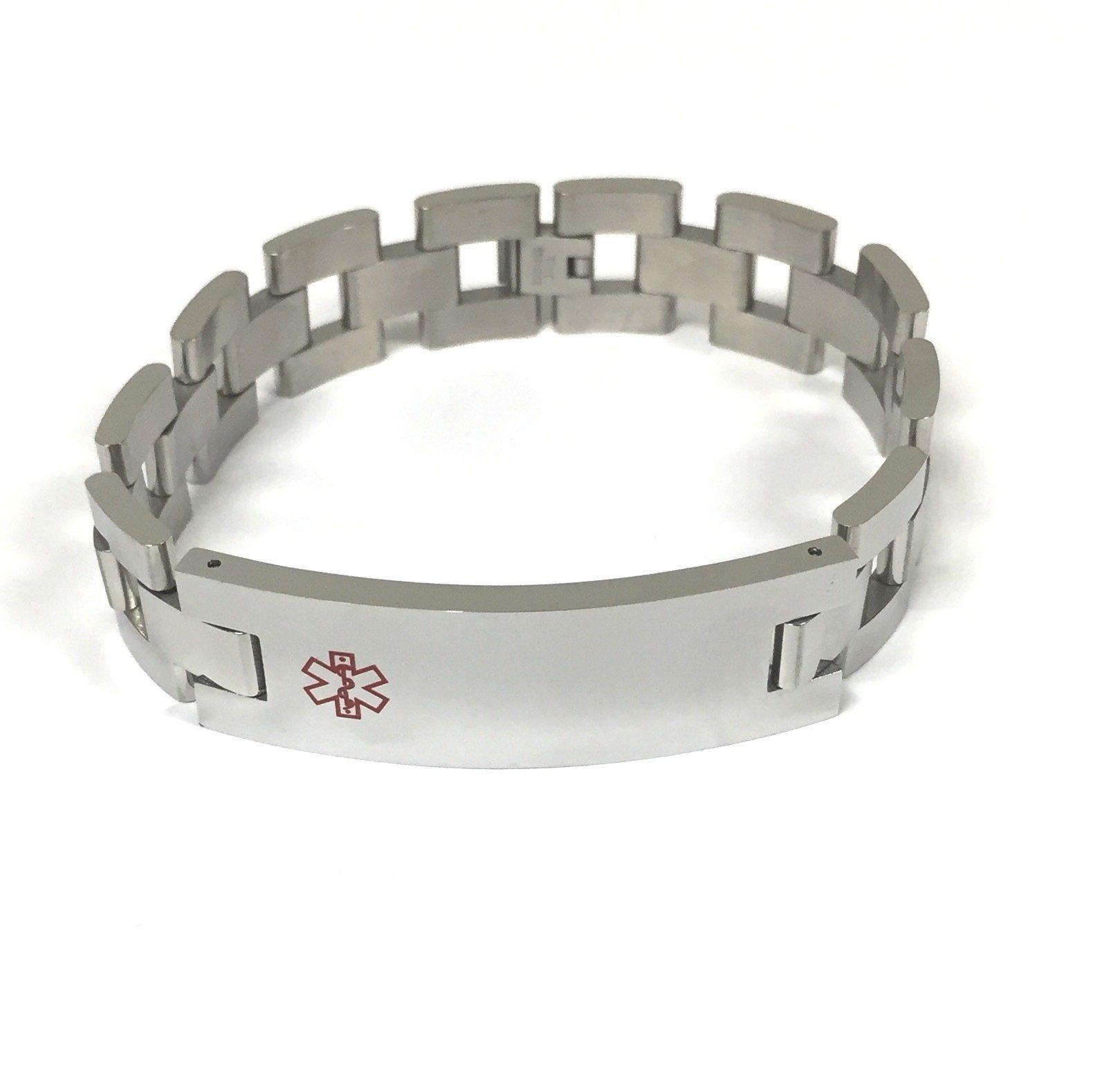 TravelJewelry.com Stainless Steel 9'' Medical Men's ID Bracelet by TravelJewelry.com (Image #1)