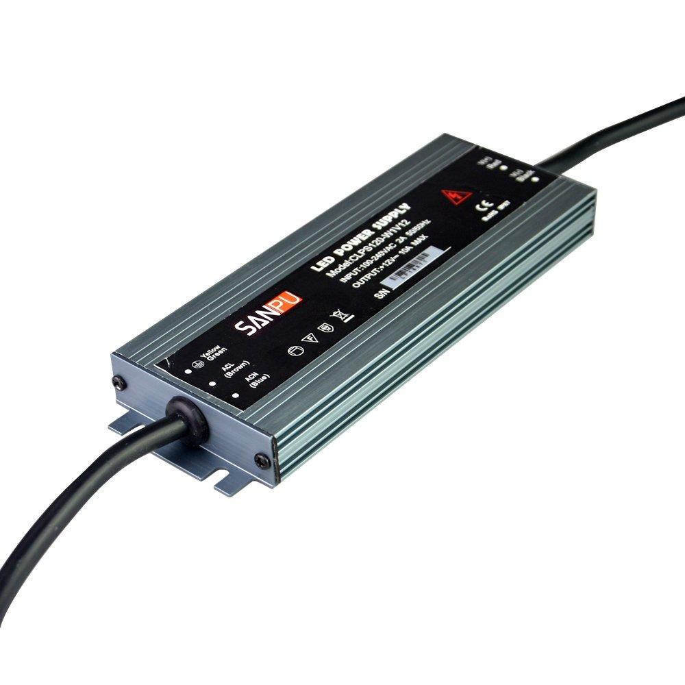 transformador de iluminaci/ón IP67 10 A 220 V CC Fuente de alimentaci/ón LED impermeable de 18 mm SANPU CLPS120-W1V12 12 V CC 120 W 110 V de aluminio delgado