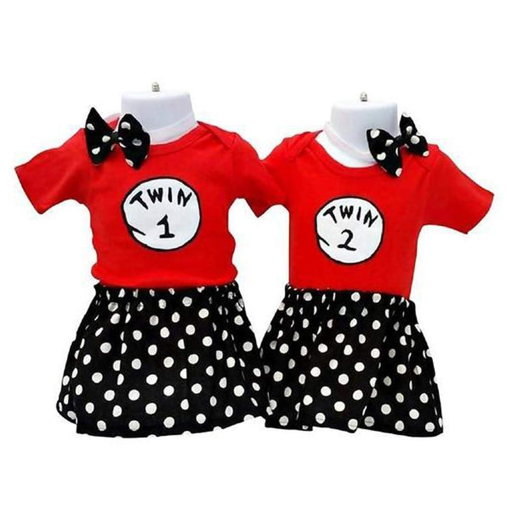 Perfect Pairz Twin Girls Outfits Designed for Birthday Photos Events(12M) by Perfect Pairz