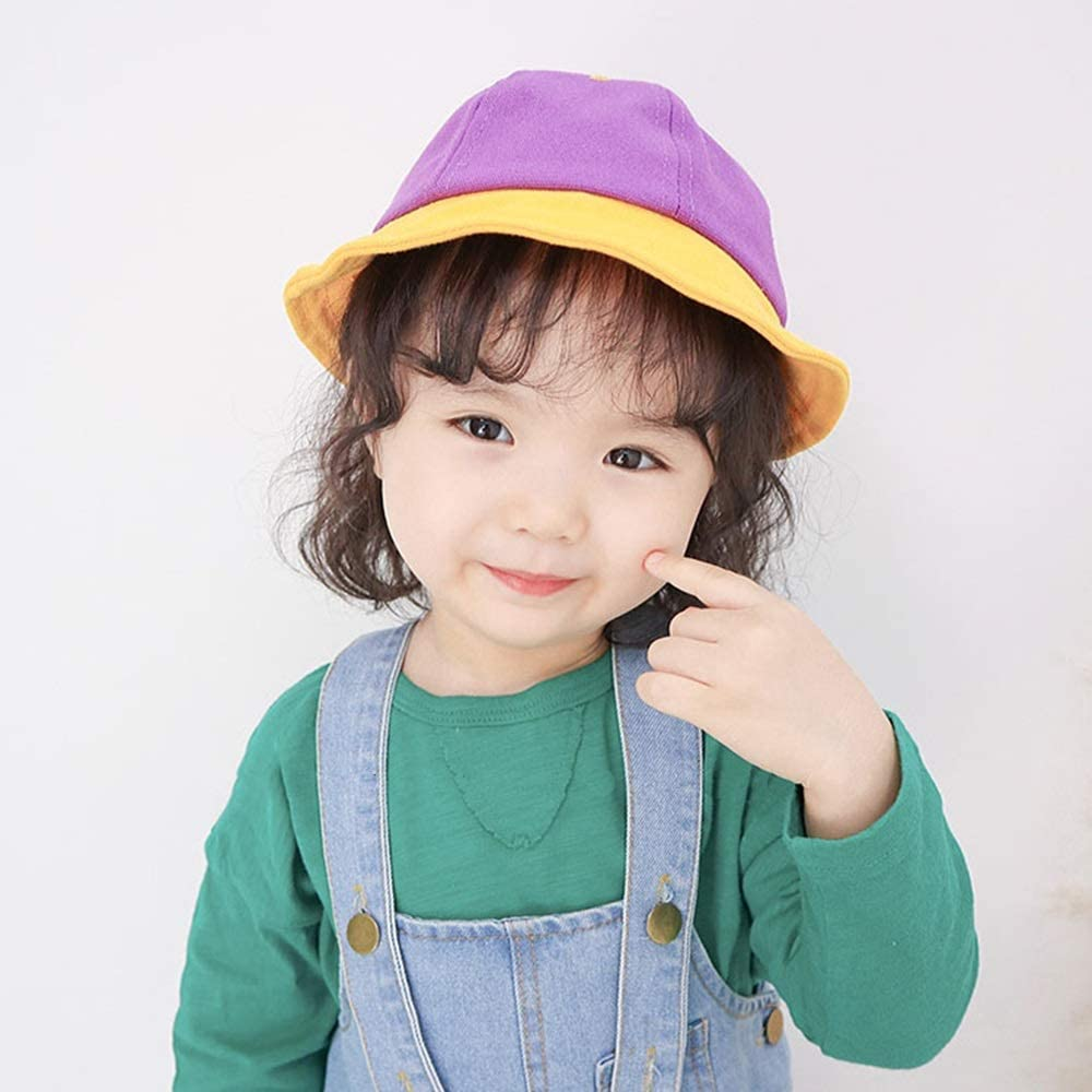 2-4 Years Old XINGZHE09 Childrens Sun Hat Color : Pink boy and Girl Sunhat Color Matching Spring and Summer Trend Outing Cap Child Fisherman hat a Variety of Colors to Choose from Child hat