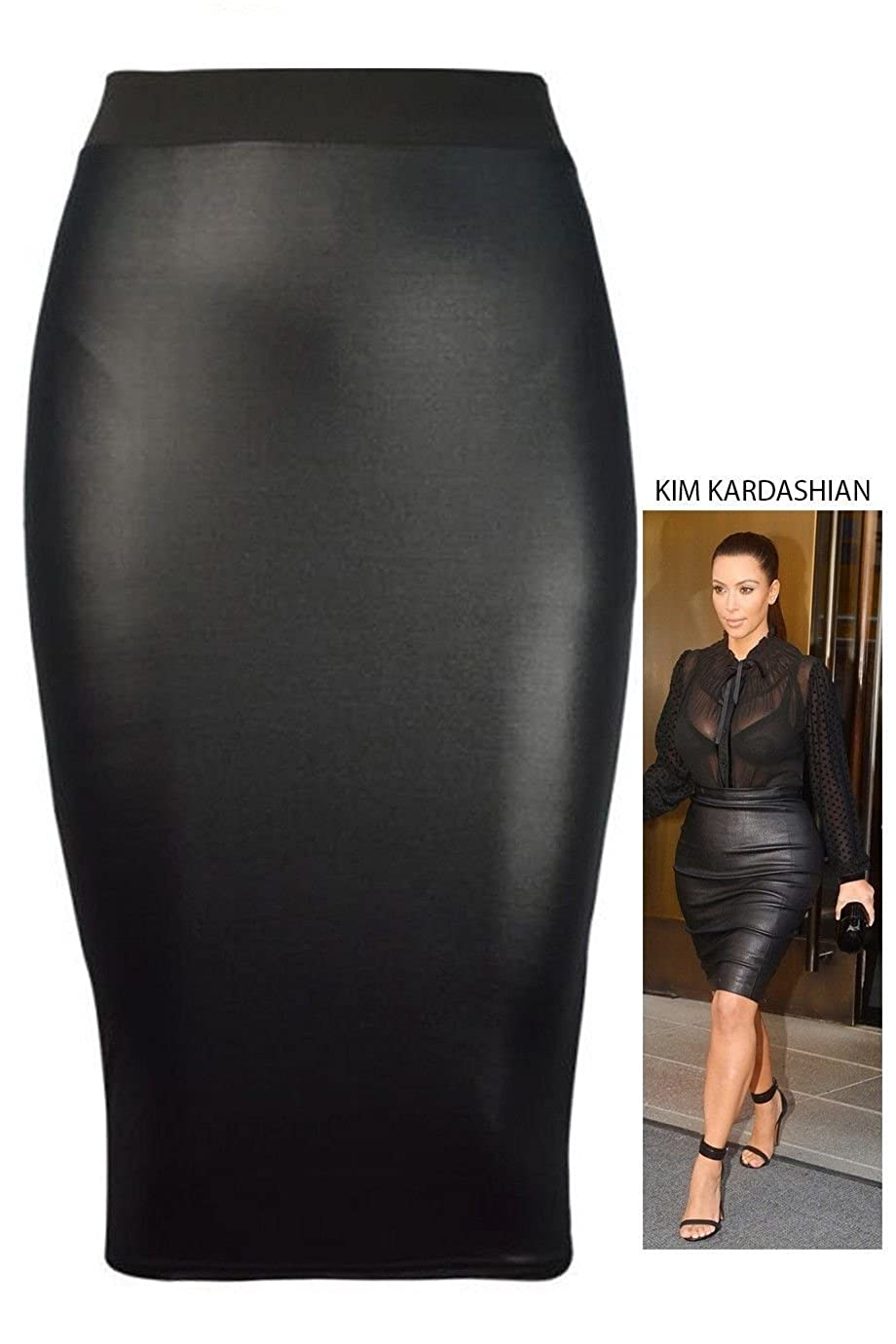 Forever Womens Plain Wetlook Skirts In Different Styles at Amazon ...