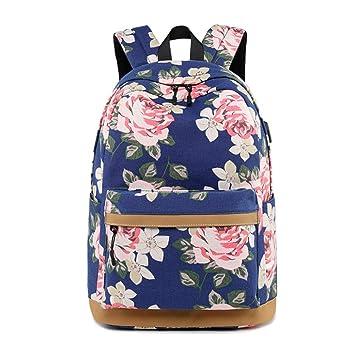 LCTCBB Mochila de Moda Colección de Bolsas Escolares Senderismo Bolsa para Adolescentes Mochila Escolar Floral Girl Primaria Junior High School Bag Mochila ...