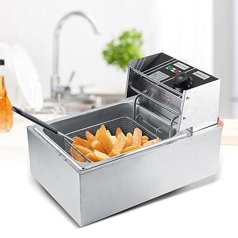 Zerone Freidora 6L de Acero Inoxidable Grasa freidora Comercial Catering Cocina máquina eléctrica con Cesta y
