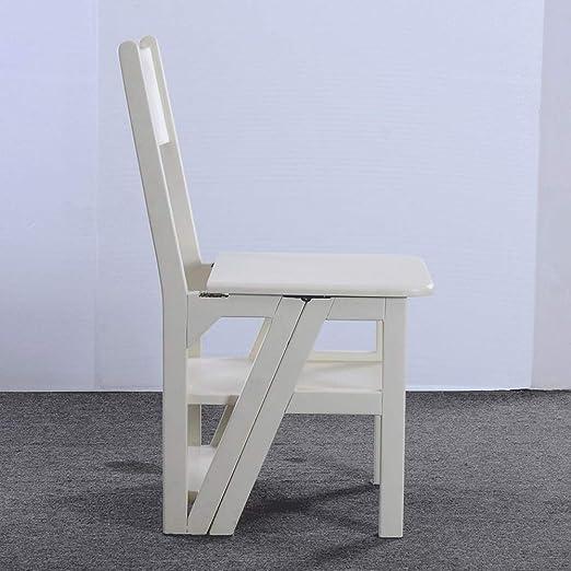 WCS Escalera americana taburete plegable silla de doble uso escalera doméstica escalera de madera maciza escalera ascendente escalera blanca 40 × 41 × 85 cm: Amazon.es: Bricolaje y herramientas