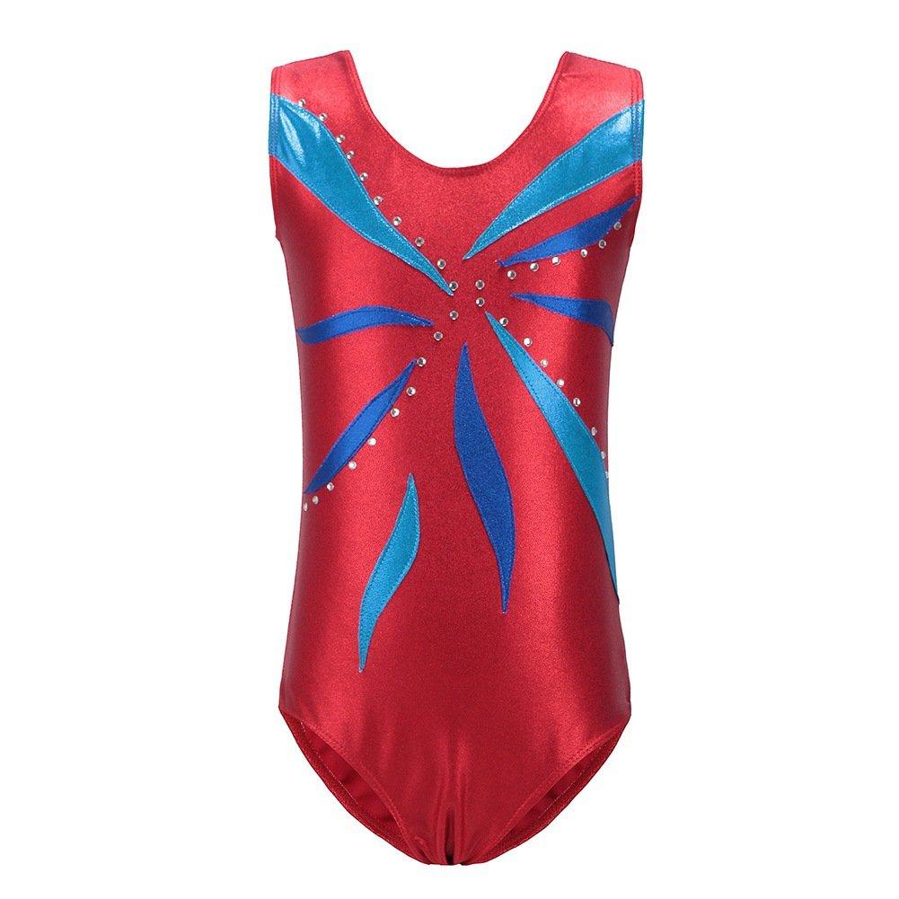 Qlan Girls Sparkle Gymnastics Leotards Sleeveless Ballet Shining Dance Dress