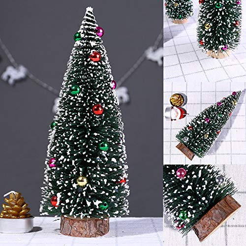 Fiaya Mini Pine Tree Christmas Tree with Wood Base DIY Crafts Ornament Home Table Xmas Party Decoration (Green, C) by Fiaya (Image #2)