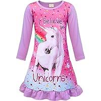 Jurebecia Unicornio Pijama Vestidos camisón con Manga Corta en Vestido para niñas